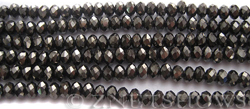 Tiaria Glass Crystal 114-Metallic Chocolate rondelle Beads <b>4x3mm</b> faceted     per   <b> 10-str-hank (50-pc-str)</b>