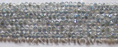 Tiaria Glass Crystal 123-Meridian Blue rondelle Beads <b>4x3mm</b> faceted     per   <b> 10-str-hank (50-pc-str)</b>