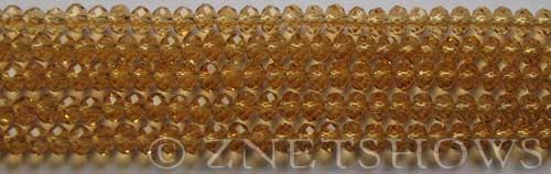 Tiaria Glass Crystal 16-Desert Gold rondelle Beads <b>4x3mm</b> faceted     per   <b> 10-str-hank (50-pc-str)</b>