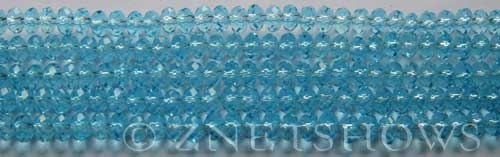 Tiaria Glass Crystal 29-Barbados Blue rondelle Beads <b>4x3mm</b> faceted     per   <b> 10-str-hank (50-pc-str)</b>