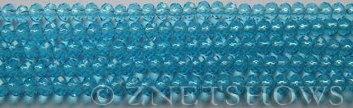 Tiaria Glass Crystal 30-Pacific Blue rondelle Beads <b>4x3mm</b> faceted     per   <b> 10-str-hank (50-pc-str)</b>