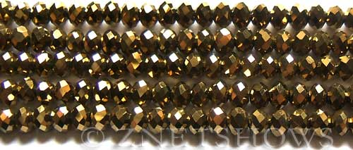 Tiaria Glass Crystal 103-Metallic Gold rondelle Beads <b>6x4mm</b> faceted     per   <b> 10-str-hank (50-pc-str)</b>