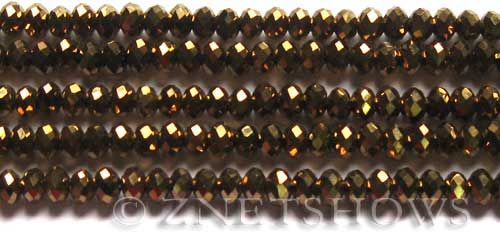 Tiaria Glass Crystal 105-Metallic Copper rondelle Beads <b>6x4mm</b> faceted     per   <b> 10-str-hank (50-pc-str)</b>