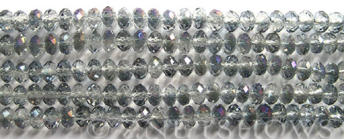 Tiaria Glass Crystal 121-Half Heliotrope rondelle Beads <b>6x4mm </b> faceted     per   <b> 10-str-hank  (50-pc-str)</b>