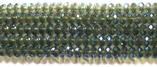 Tiaria Glass Crystal 122-Veridian Green rondelle Beads <b>6x4mm</b> faceted     per   <b> 10-str-hank (50-pc-str)</b>