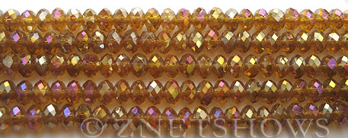 Tiaria Glass Crystal 16AB-Desert Gold AB rondelle Beads <b>6x4mm</b> faceted     per   <b> 10-str-hank (50-pc-str)</b>