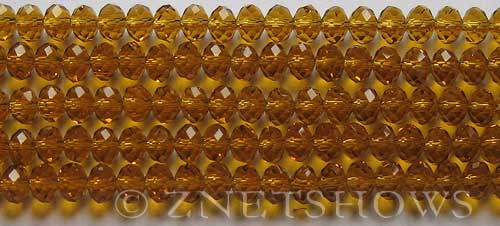 Tiaria Glass Crystal 17-Amber rondelle Beads <b>6x4mm</b> faceted     per   <b> 10-str-hank (50-pc-str)</b>