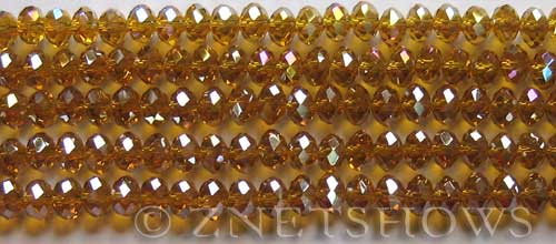 Tiaria Glass Crystal 17AB-Amber AB rondelle Beads <b>6x4mm</b> faceted     per   <b> 10-str-hank (50-pc-str)</b>