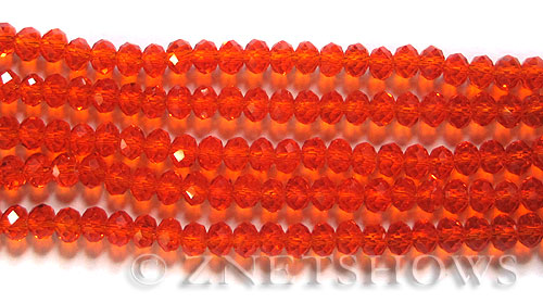 Tiaria Glass Crystal 83-Tangerine rondelle Beads <b>6x4mm</b> faceted     per   <b> 10-str-hank</b>