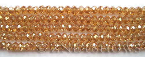 Tiaria Glass Crystal 94-Amber Gold rondelle Beads <b>6x4mm</b> faceted     per   <b> 10-str-hank (50-pc-str)</b>