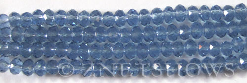 Tiaria Glass Crystal 30-Pacific Blue rondelle Beads <b>6x4mm</b> faceted     per   <b> 10-str-hank (50-pc-str)</b>