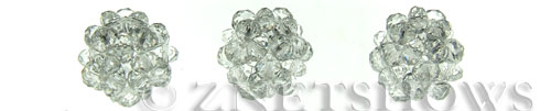 Tiaria Glass Crystal 01-Crystal braided style Pendants <b>15mm</b> faceted ball made of 4x3mm rondelles    per   <b> piece</b>