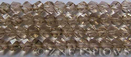 Tiaria Glass Crystal 13-Light Smoky Topaz twist Beads <b>10mm</b> faceted     per   <b> 20-pc-str</b>