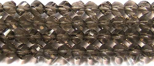 Tiaria Glass Crystal 15-Smoky Quartz  twist Beads <b>10mm</b> faceted     per   <b> 20-pc-str</b>