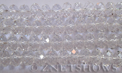 Tiaria Glass Crystal 01-Crystal rondelle Beads <b>12x8mm</b> faceted     per   <b> 5-str-hank (24-pc-str)</b>