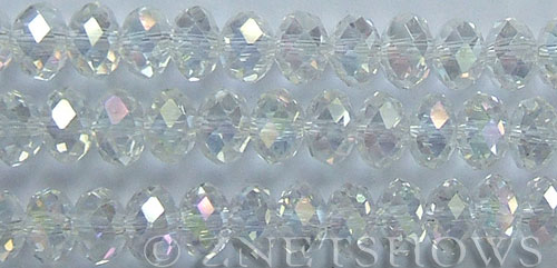 Tiaria Glass Crystal 01AB-Crystal AB rondelle Beads <b>12x8mm</b> faceted     per   <b> 5-str-hank (24-pc-str)</b>
