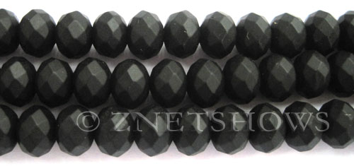 Tiaria Glass Crystal 02-Jet Black rondelle Beads <b>12x8mm</b> faceted Matte    per   <b> 8-in-str</b>