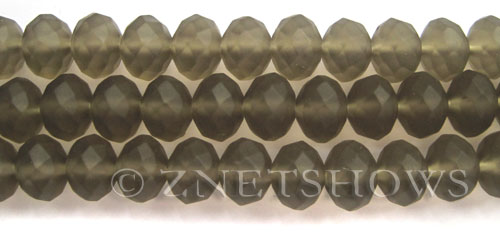 Tiaria Glass Crystal 15-Smoky Quartz  rondelle Beads <b>12x8mm</b> faceted Matte    per   <b> 8-in-str</b>