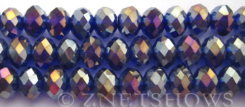 Tiaria Glass Crystal 33AB-Royal Blue AB rondelle Beads <b>12x8mm</b> faceted     per   <b> 5-str-hank (24-pc-str)</b>