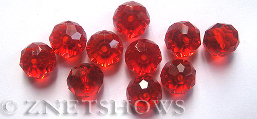 Tiaria Glass Crystal 04-Light Cherry rondelle Beads <b>14x10mm</b> faceted     per   <b> 10-pc-bag</b>