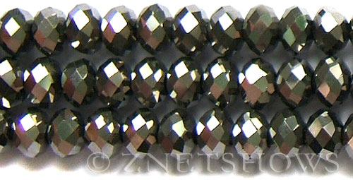 Tiaria Glass Crystal 104- Metallic Silver rondelle Beads <b>14x10mm</b> faceted     per   <b> 10-pc-bag</b>