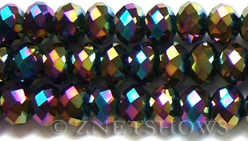 Tiaria Glass Crystal 106-Metallic Peacock rondelle Beads <b>14x10mm</b> faceted     per   <b> 12-Piece-Strand</b>