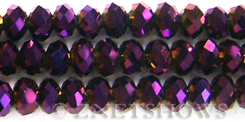 Tiaria Glass Crystal 107-Metallic Purple rondelle Beads <b>14x10mm</b> faceted     per   <b> 10-pc-bag</b>