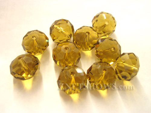 Tiaria Glass Crystal 17-Amber rondelle Beads <b>14x10mm</b> faceted     per   <b> 10-pc-bag</b>