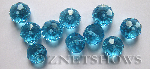 Tiaria Glass Crystal 29-Barbados Blue rondelle Beads <b>14x10mm</b> faceted     per   <b> 12-Piece-Strand</b>