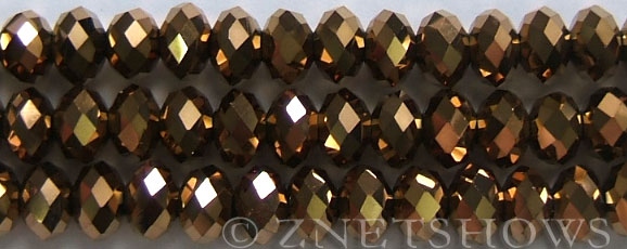 Tiaria Glass Crystal 105-Metallic Copper rondelle Beads <b>10x8mm</b> faceted     per   <b> 10-str-hank (26-pc-str)</b>