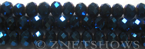 Tiaria Glass Crystal 108-Metallic Indigo Blue rondelle Beads <b>10x8mm</b> faceted     per   <b> 10-str-hank (26-pc-str)</b>