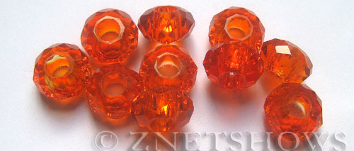 Tiaria Glass Crystal 04-Light Cherry rondelle Beads <b>14x8mm</b> faceted 5mm large hole    per   <b> 10-pc-bag</b>