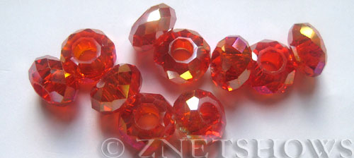 Tiaria Glass Crystal 04AB-Light Cherry AB rondelle Beads <b>14x8mm</b> faceted 5mm large hole    per   <b> 10-pc-bag</b>