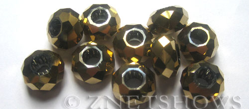Tiaria Glass Crystal 103-Metallic Gold rondelle Beads <b>14x8mm</b> faceted 5mm large hole    per   <b> 10-pc-bag</b>