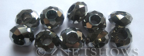 Tiaria Glass Crystal 104- Metallic Silver rondelle Beads <b>14x8mm</b> faceted 5mm large hole    per   <b> 10-pc-bag</b>