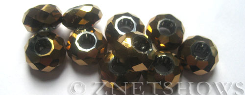 Tiaria Glass Crystal 105-Metallic Copper rondelle Beads <b>14x8mm</b> faceted 5mm large hole    per   <b> 10-pc-bag</b>