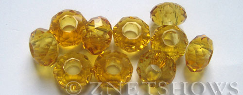 Tiaria Glass Crystal 11-Gold Champagne rondelle Beads <b>14x8mm</b> faceted 5mm large hole    per   <b> 10-pc-bag</b>
