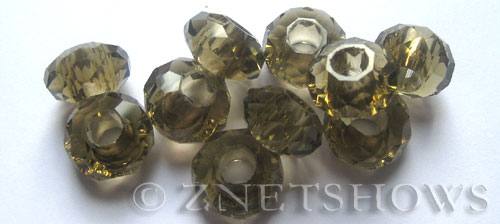Tiaria Glass Crystal 15-Smoky Quartz  rondelle Beads <b>14x8mm</b> faceted 5mm large hole    per   <b> 10-pc-bag</b>