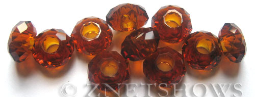 Tiaria Glass Crystal 17-Amber rondelle Beads <b>14x8mm</b> faceted 5mm large hole    per   <b> 10-pc-bag</b>