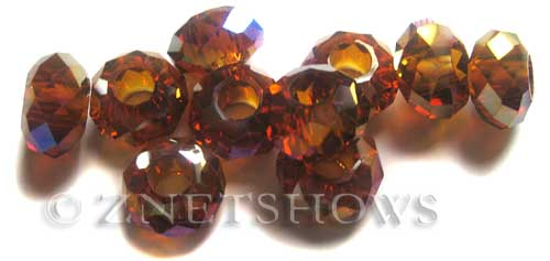 Tiaria Glass Crystal 17AB-Amber AB rondelle Beads <b>14x8mm</b> faceted 5mm large hole    per   <b> 10-pc-bag</b>