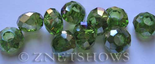 Tiaria Glass Crystal 22AB-Olive AB rondelle Beads <b>14x8mm</b> faceted 5mm large hole    per   <b> 10-pc-bag</b>