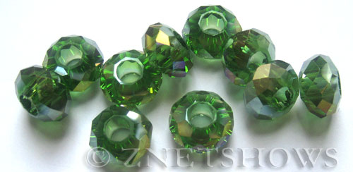 Tiaria Glass Crystal 24AB-Pine green AB rondelle Beads <b>14x8mm</b> faceted 5mm large hole    per   <b> 10-pc-bag</b>
