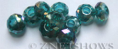 Tiaria Glass Crystal 26AB-Green Zircon AB rondelle Beads <b>14x8mm</b> faceted 5mm large hole    per   <b> 10-pc-bag</b>