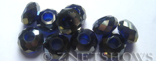 Tiaria Glass Crystal 33AB-Royal Blue AB rondelle Beads <b>14x8mm</b> faceted 5mm large hole    per   <b> 10-pc-bag</b>