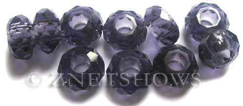 Tiaria Glass Crystal 35-Purple  rondelle Beads <b>14x8mm</b> faceted 5mm large hole    per   <b> 10-pc-bag</b>
