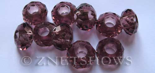 Tiaria Glass Crystal 37-Medium Amethyst rondelle Beads <b>14x8mm</b> faceted 5mm large hole    per   <b> 10-pc-bag</b>