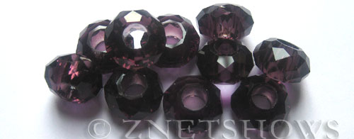 Tiaria Glass Crystal 38-Dark Amethyst rondelle Beads <b>14x8mm</b> faceted 5mm large hole    per   <b> 10-pc-bag</b>