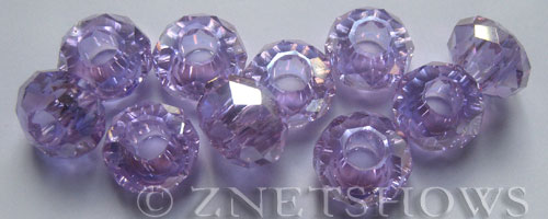 Tiaria Glass Crystal 39AB-Periwinkle Changes AB rondelle Beads <b>14x8mm</b> faceted 5mm large hole    per   <b> 10-pc-bag</b>