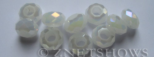 Tiaria Glass Crystal 42AB-Opaque White AB rondelle Beads <b>14x8mm</b> faceted 5mm large hole    per   <b> 10-pc-bag</b>