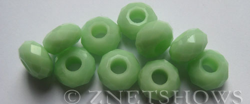 Tiaria Glass Crystal 43-Opaque Seafoam Green rondelle Beads <b>14x8mm</b> faceted 5mm large hole    per   <b> 10-pc-bag</b>
